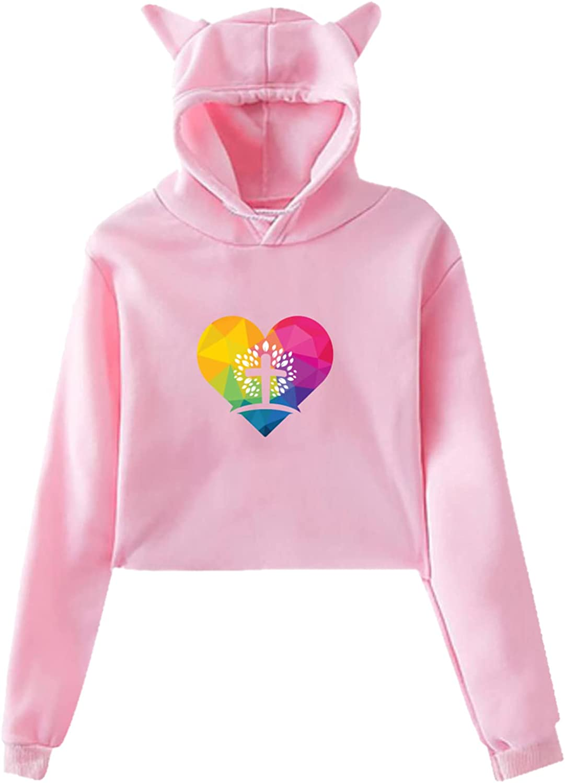 Jesus Loves You Girl Cat EarsHoodie Sweater Sport Pullover RetroShort Cat Ear Top, For {School, Work, Sports, Party, Daily Wear} Pink
