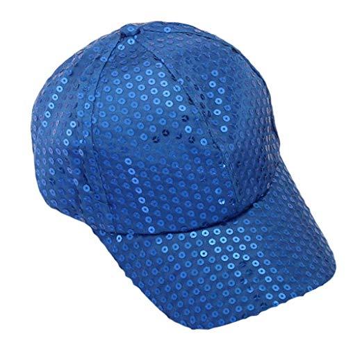 Baseball Caps Hat for Women Men, Novelty Sequined Decor Pure Color Breathable Outdoor Sports Visor Hats Blue