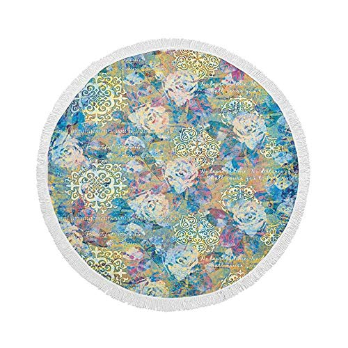 Manta de Toalla de Playa Redonda, Piso Real Abstracto Decorativo, Esterilla de Yoga Circular Grande de Gran tamaño de 59 Inch con borlas de Flecos