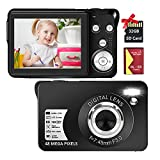 """Digital Camera, 2.7K 48MP HD Camera Compact Camera Mini Portable Camera with 16X Digital Zoom and 2.7"""" TFT Screen Digital Camera for Kids Students Beginners (32GB SD Card & Battery Included)"""