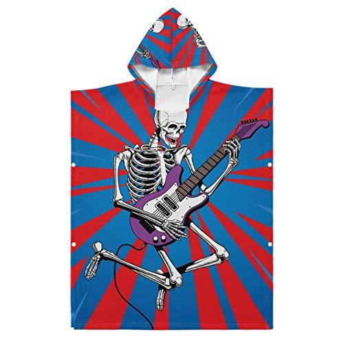 LENNEL Albornoz Cape Soft Kids Algodón Esqueleto Hueso Tocando la Guitarra Toalla de Playa con Capucha 27.55x27.55 Pulgadas Diversión para la Piscina Parque de Aguas Termales