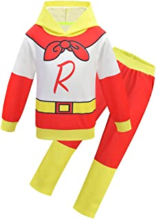 Super Man Style Ryan's World Boy's Hoodie Tracksuits Trousers and Top Sets Long Sleeve for Kids