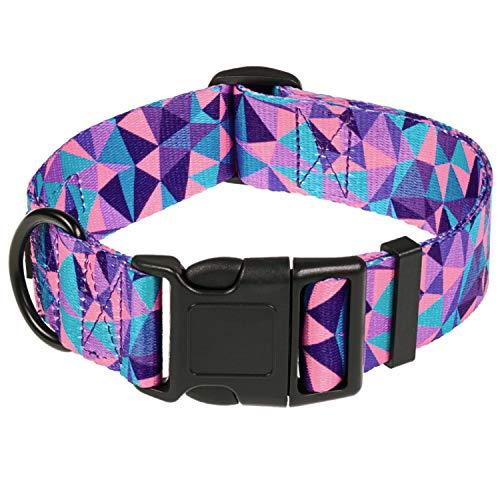 HAVNBERG Collar de perro talla M cuello 33,0 cm – 51,0 cm, ancho collar para perros medianos ancho 2,5 cm, diseño geométrico triángulo morado