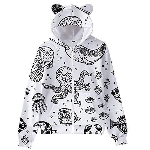 Janly Clearance Sale Blusa de manga larga para mujer, diseño de la vida marina, estampado de orejas de gato, manga larga, sudadera con capucha para niños, para invierno, Navidad (Negro-XL)