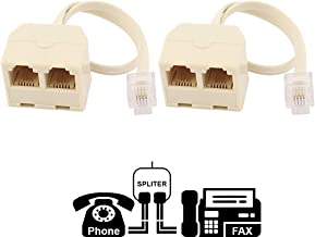Two Way Telephone Splitters, RJ11 6P4C, 1 Male to 2 Female Converter, Telephone Wall Adaptor and Splitter for Landline Telephone by True Décor (2 Pack)