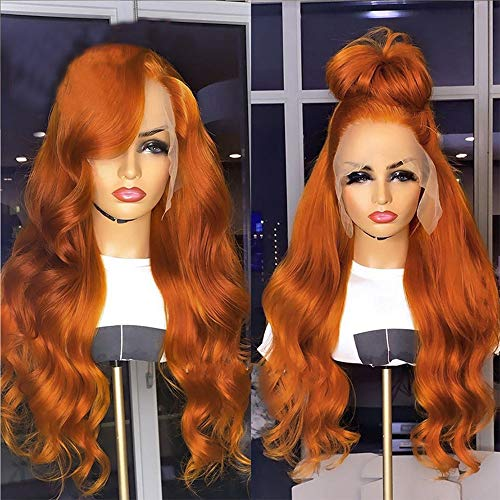 Brazilian Raw Virgin Hair Ginger Orange Lace Front Wig Human Hair Colored Wigs Pre Plucked Body Wave Human Hair Wigs With Baby Hairs for Women (22 Inch, Lace Front Wig)