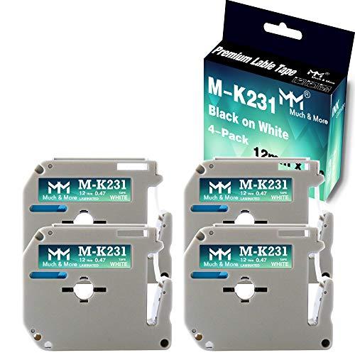 "MM MUCH & MORE Compatible Label Tape Replacement for M-K231 M231 MK231, 0.47""(12mm) x 26.2'(8m), Use for P-Touch PT-M95 PT-90 PT-65 PT-85 PT-70 PT-80 PT-70BM PT-70SR, Black on White, 4 Pack"