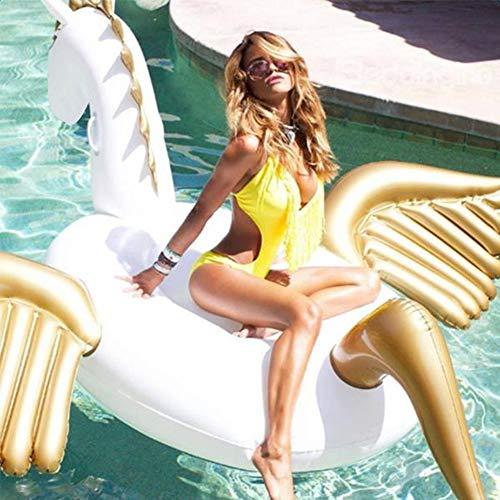 XUEKUN Aufblasbares Schwimmmatte/Bett Pool Float Spielzeug Riesen Pegasus Sunbathe Matten-Matratze-Luft-Wasser-Einfassung Für Strand Meer Schwimmen white-270 * 245 * 115cm