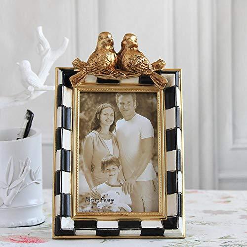 XCVB Vintage fotolijst goud met zwart witte blokken en twee vogels op tak Design tafelblad hars fotolijst, 8 x 10 inch