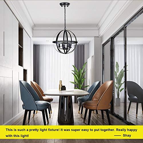 DLLT Industrial Pendant Lighting Fixture, Flexible Chandelier Hanging, Rustic 5 Light Flush Mount Ceiling Pendant Lamp for Kitchen, Dining Room, Living Room, Hallway, Bedroom, Entryway, E12 Base Gold