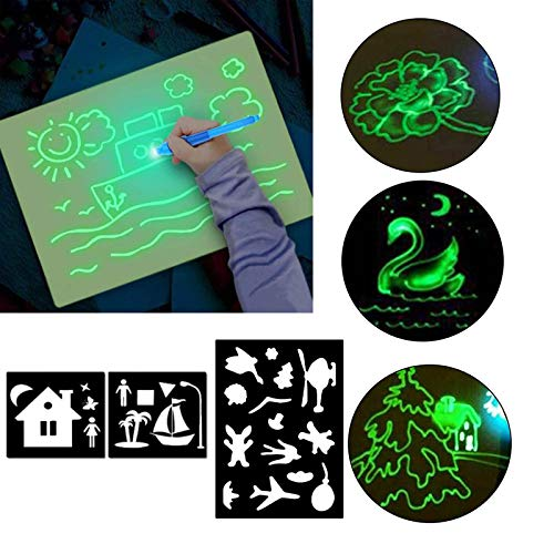 Painting Board, Magic 3D Drawing Board,Light Up Drawing Board Kit,Draw Educational Fluorescent Painting Board for Kids, Draw, Doodle, Art, Write (A5)