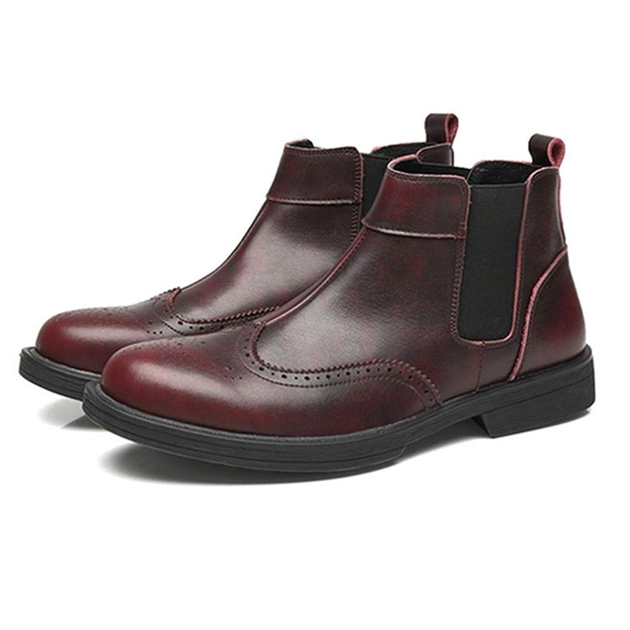 パーフェルビッド熱帯の未満メンズ サイドゴアブーツ 本革 ショートブーツ ビジネスシューズ スリッポン 革靴 紳士靴 ブラック ブラウン ワインレッド 撥水加工 靴 ブーツ ラウンドトゥ プレーントゥ フォーマル 大きいサイズ