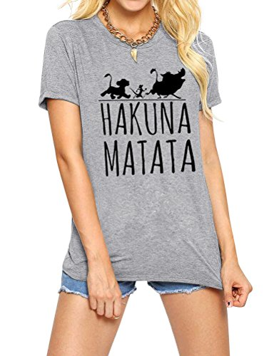 Nlife Frauen Hakuna Matata Brief Drucken Brief Drucken Casual Kurzarm Shirt Top T-Shirt