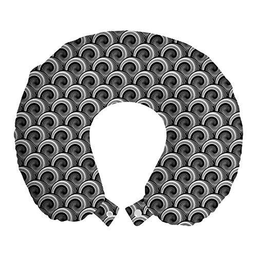 ABAKUHAUS Abstrakt Reisekissen Nackenstütze, Monochrome Whirlpool Kunst, Schaumstoff Reiseartikel für Flugzeug und Auto, 30x30 cm, Weiß und Dunkelgrau