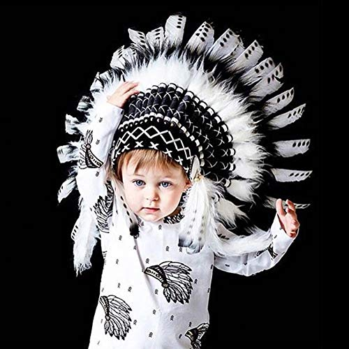 MJuan, Christmas Supplies,Child Baby Indian Style Feather Headband Headdress Party Decoration Photo Prop - Black White Black White
