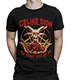 Celine Dion Vintage Death Metal T-Shirt, My Heart Will Go On Funny Tee (L - Male) Black
