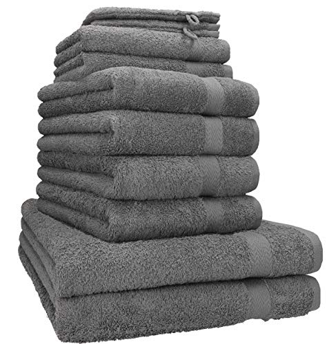 Betz 10-TLG. Handtuch-Set Premium 100% Baumwolle 2 Duschtücher 4 Handtücher 2 Gästetücher 2 Waschhandschuhe Farbe anthrazit