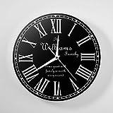 ZHUYUXIN Silencieux Non-Ticking Chiffre Romain Personnalisé Horloge Murale Personnalisé Nom De...