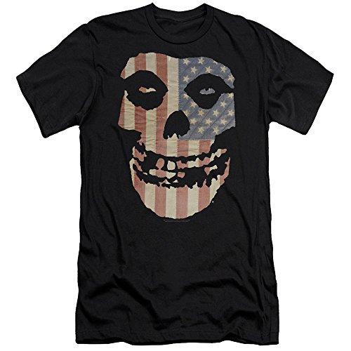 Misfits Punk Rock Band Fiend Skull On American Flag Adult Slim T-Shirt Tee Black