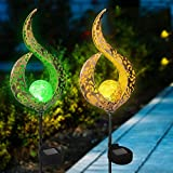2er Solar Gartenlampe Crack Glaskugel Metall Dekoratives Led Licht Außen Dekoratives Licht Solarleuchten für Außen Solarlampen Outdoor,1 Warmes Gelbes Licht + 1 RGB Buntes Farblicht (Zauberstab Form)