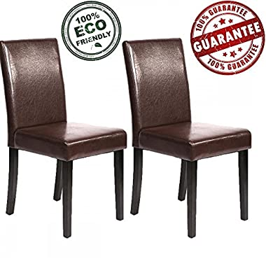 MR Direct Dining Chairs Room Set of 2 Urban Style Leather Dining Chair Set With Solid Wood Legs Chair