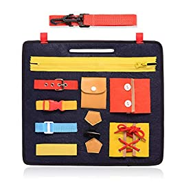 FBve Busy Board for Toddlers, Montessori Basic Skills Toddler Activity Board for Fine Motor Skills & Learn to Dress – Educational Learning Toys
