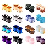 Yr Fashion 32pcs Set Stainless Steel Double Flared Colorful Tunnels Expander Stone Plugs Set Piercing Gauge 00g