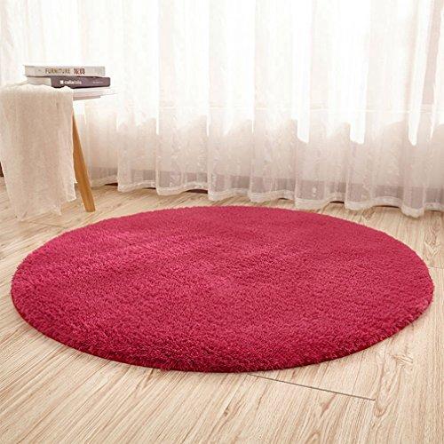 [QIFENGDIANZI]円形ラグ カーペット 絨毯 滑り止め 洗える 低反発 無地 柔らか 抗菌防臭 防音 床暖房対応 おしゃれ 円形マット シャギーラグ じゅうたん チェアマット 北欧風 折り畳み可能 9色選べる