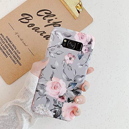 URFEDA Kompatibel mit Samsung Galaxy S8 Handyhülle Blätter Blumen Bunt Muster Gemalt Ultra Dünn Hülle Weich TPU Silikon Case Bumper Kratzfest Stoßfest Schutzhülle Tasche Case Cover,Grau Blume