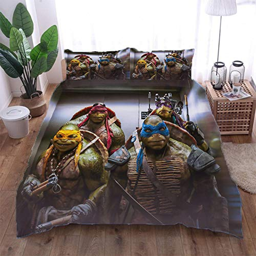 Duvet Cover Teenage Mutant Ninja Turtles Duvet Cover and Two Pillow Cases Microfibre 3D Digital Print Three-Piece Set,200x200cm