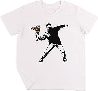 Banksy - Rabia, Flor Lanzador Niños Chicos Chicas Unisexo Camiseta Blanco