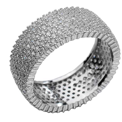 Harlembling Real Solid 925 Silver - His Or Hers Micropave Ring - Wedding Band Or Pinky Ring Looks Nice On Anyone - Iced Out Eternity Hip Hop Band (12)