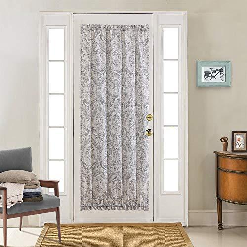 French Door Curtain Grey Linen Print French Door Panel Damask Medallion Design Vintage Drapes for Glass Door Patio Front Door 72 inch Long One Gray on Beige Flax with Adjustable Tieback