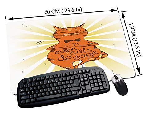 Alfombrilla Raton Gaming,Yoga, gato tranquilo con una frase motivacional Asana Posición de equilibrio Relajación,,Impermeable con base de goma antideslizante, PC y laptop comfortable mouse pad60x35 cm