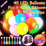 40 Pack LED leuchtende Ballons, Premium gemischte Farbe blinkende Party Lichter dauern 12-24 Stunden, leuchten im Dunkeln für Partys, Geburtstag Hochzeit Dekorationen und Weihnachten Festivals