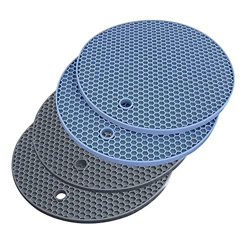 WYE 4 salvamanteles de silicona para ollas, resistentes al calor hasta 230 °C, antideslizantes, color gris y azul, diámetro de 14 cm (1)