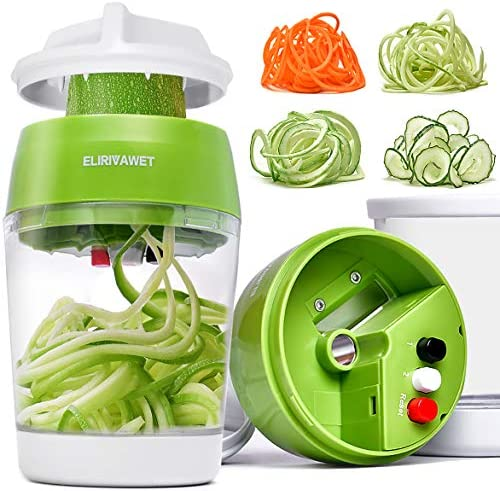 Upgraded 5 in1 Handheld Spiralizer Vegetable Slicer Heavy Duty Veggie Spiral Cutter with Container product image