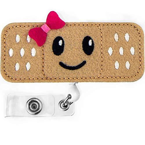 Nurse Badge Reel Holder - Smiley FACE - RN Badge - Bandage Badge Reel - Perfect Nurse Gifts for Women - by BadgeZoo (Pink)