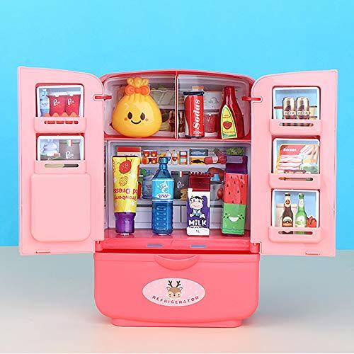 Hunpta @ Simulation Kühlschrank Kinder Rollenspiel Spielzeug Set Küchenspielzeug Doppeltür Mini Kühlschrank Haushaltsgeräte Puppenhaus Möbel Lernspielzeug Partyspiele Geschenk für Jungen Mädchen