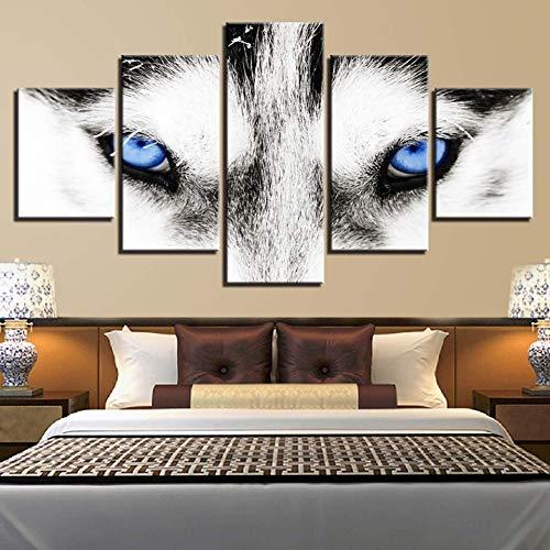 YXBNB 5 aufeinanderfolgende HD Drucke Gemälde Wolf Auge Leinwand Malerei Dekoration Für Wohnzimmer 5 Stück Poster Wandkunst modulare Print Bild (Rahmenlos)