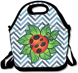 Lunch Bag Tote Boxes Bags Lunch Box Ladybug Green Leaf Tattoo Art Insulated Lunch Boxes Neoprene Lunch Boxes Large Reusable Bags For Women, Teens, Girls, Kids, Baby, Adults Portable Carry
