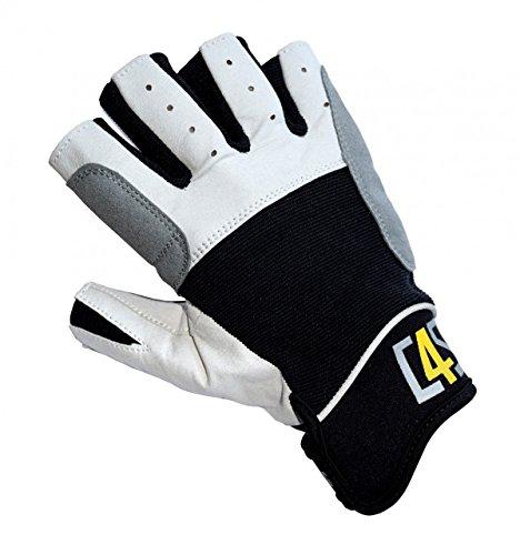 crazy4sailing Damen Herren Segelhandschuhe Regatta - 5 Finger-frei, Farbe:schwarz, Größe:S