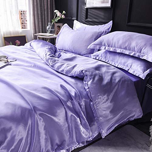 Juego de Funda de edredón para Cama de Matrimonio,El verano se mantiene en la cama, la cama, el viento de lujo de la luz nórdica, cuatro piezas de lavado de agua, niña de seda, ropa de cama en polvo.