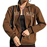 Mujer Y2K Sudadera con capucha E-Girl Zip Up Sudadera Vintage con capucha Retrato Estampado Gráfico Chaqueta con Bolsillo Manga Larga Abrigo Streetwear, A-brown With Letter, S