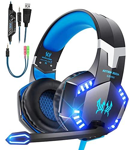 Cascos PS4 con Micrófono,Cascos Gaming de Estéreo con Micrófono Cascos Gaming 3.5mm Jack con RGB LED Bass Surround y Cancelación de Ruido Auriculares Compatible con PC/Xbox One/Switch