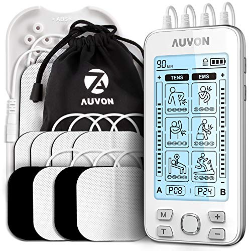 "AUVON 4 Outputs TENS Unit EMS Muscle Stimulator Machine for Pain Relief Therapy with 24 Modes Electric Pulse Massager, 2"" and 2""x4"" Electrodes Pads (White)"