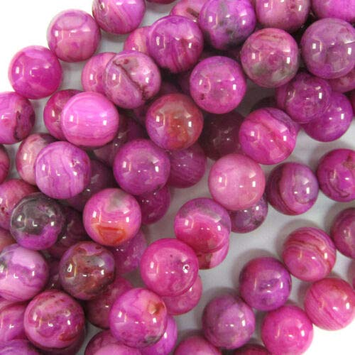 buyallstore Purple Pink Crazy Lace Agate Round Beads 15.5' Strand 4mm 6mm 8mm 10mm 12mm (8mm)