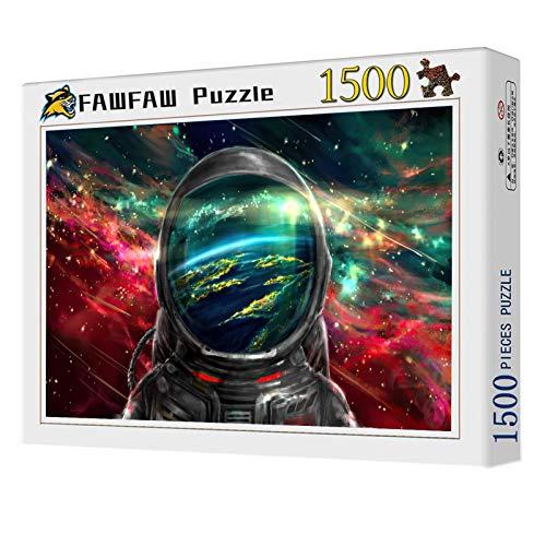 FAWFAW Rompecabezas Niños Y Adultos 1500 Piezas, Astronauta En El Cosmos Nebulosa Colorida Galaxia