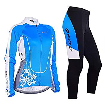 NUCKILY Women s Long Sleeve Padded Pants Cycling Jersry Suit Bicycle Clothing Set with 4 Pockets