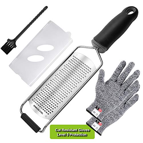 Knendet Fine Cheese Grater & Lemon Zester with Premium Stainless Steel,PRO Handheld Kitchen tool for Citrus,Fruits,Parmesan,Chocolate with Protector Cover and Cut Resistant Gloves,Dishwasher Safe